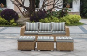 Mega Sale Patio Wicker Three Seater Sofa with Ottomans