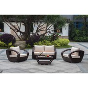 Patio Wicker Conversation Sofa Set On Sale