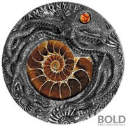 2019 Niue Ammonite Fossil Amber High Relief 2 oz Silver